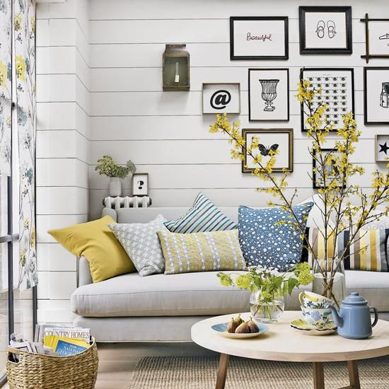 One Living Room Three Ways Small Room Makeover Blue And Yellow Living Room Yellow Living Room