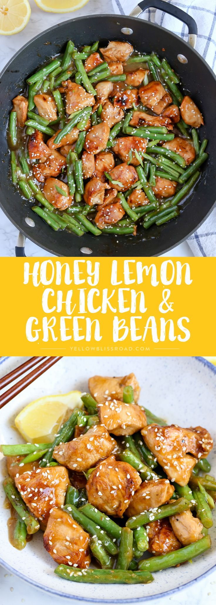 This Honey Lemon Chicken and Green Beans is a light and fresh meal with a ton of flavor. Dinner is on the table in just 20 minutes! #fallrecipesdinner
