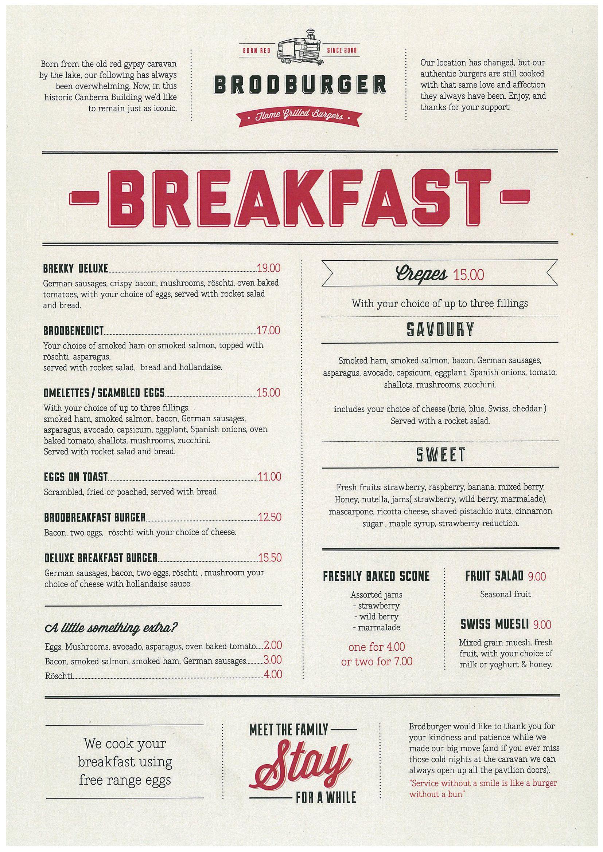Brodburger Breakfast Breakfast Menu Design Menu Layout Menu Design