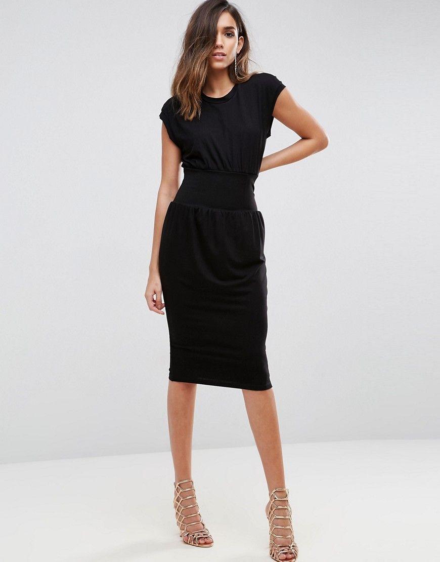 60eea2ba6192 ASOS Corset Waist Detail Midi T-Shirt Dress - Black