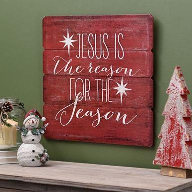 The Reason for the Season Wood Plank Plaque Rustic Christmas Decor - wood christmas decorations