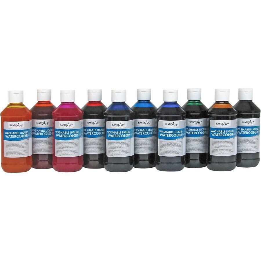 Handy Art Washable Liquid Watercolor 8oz 10 St Ast 882275