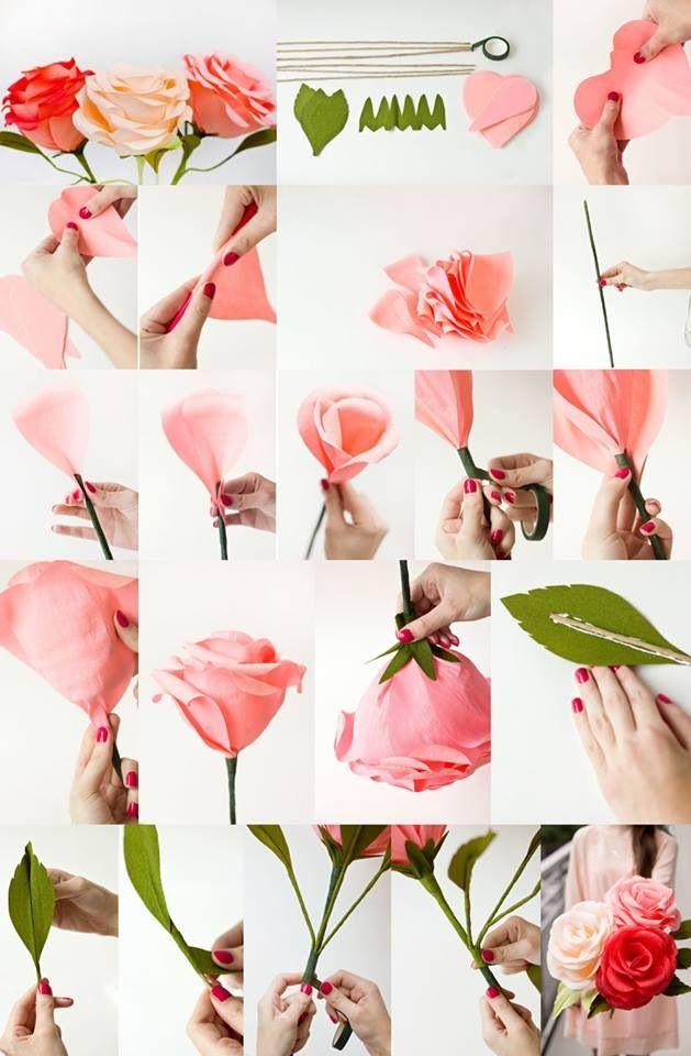Diy Giant Crepe Paper Roses Paper Flowers Diy Paper Roses