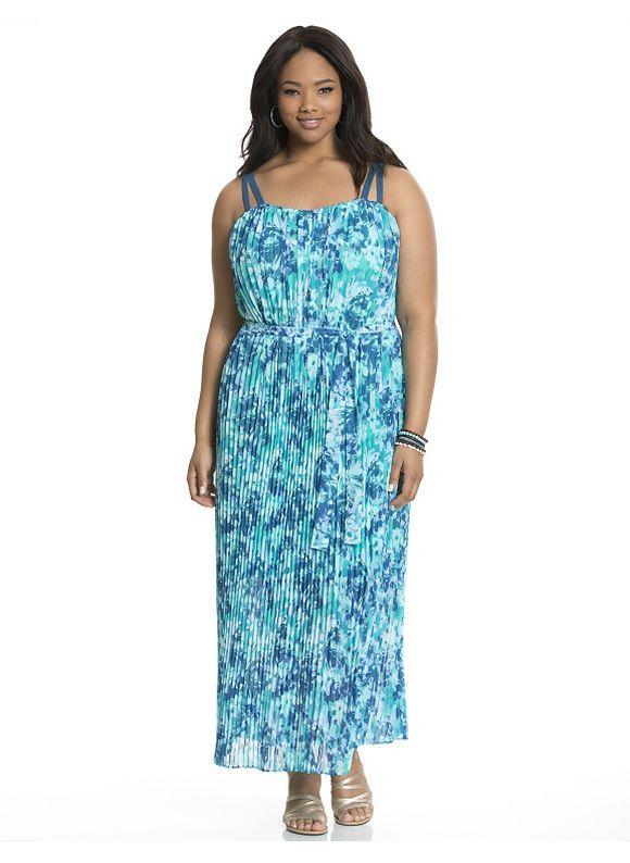 23f0ae18ea8 Plus Size Floral pleated maxi dress Lane Bryant Women s Size 14 16 ...
