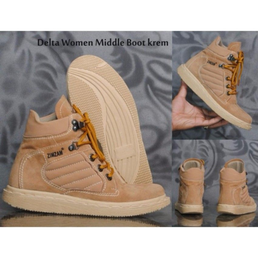 Sepatu Boots Wanita Zimzam Delta Middle Krem Sepatu Boots