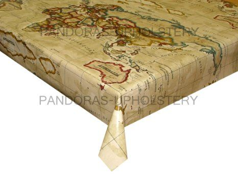 Prestigious Textiles Designer PVC VINYL FABRIC WIPE CLEAN OILCLOTH  TABLECLOTH (Atlas World Map Antique,