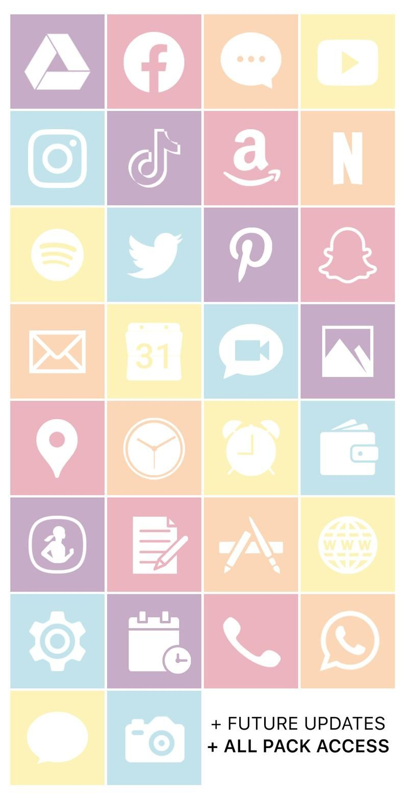 iOS Icon Lifetime All Access Pack | Pastel Beach i