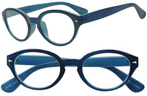 5f6afe8410a9 Sunglass Stop - Retro Blue Oval Round Studded Horned Rim Rx Strength  Prescription Lens Glasses (
