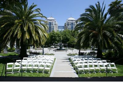 The Park's social center is the Pavilion, a graceful bandstand where ceremonies take place.  While the bride and groom exchange vows on stage, their guests, seated on the lawn, can appreciate the lovely landscaping and vintage architecture that surrounds them.  Outdoor receptions are held in the adjacent Fountain Circle, a circular plaza with a large two-tiered Parisian fountain topped by the moon goddess Diana at its center.