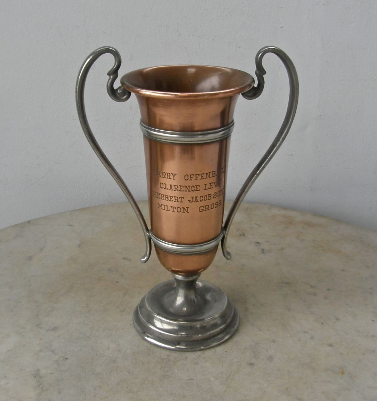 COPPER TROPHY CUP Art Deco Loving Cup 2 Metal Bands 2 Handles ...