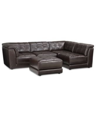 $2,899 (add Corner Piece @ $600) Stacey Leather 5 Piece Modular Sectional  Sofa