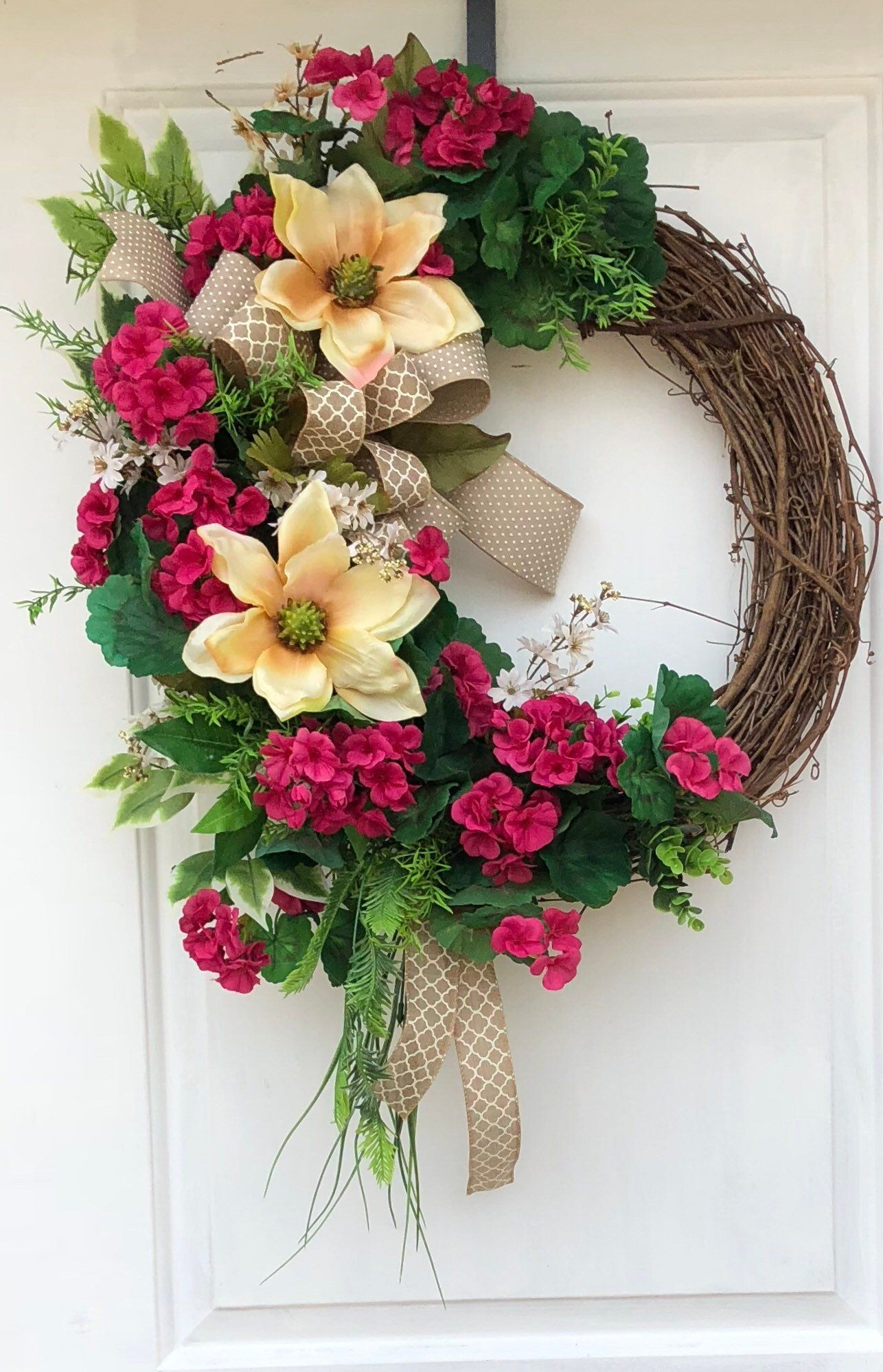 Photo of Everyday Wreath-Grapevine Wreath-Magnolia Wreath For Front Door- Wreath With Magnolias, Wreat…