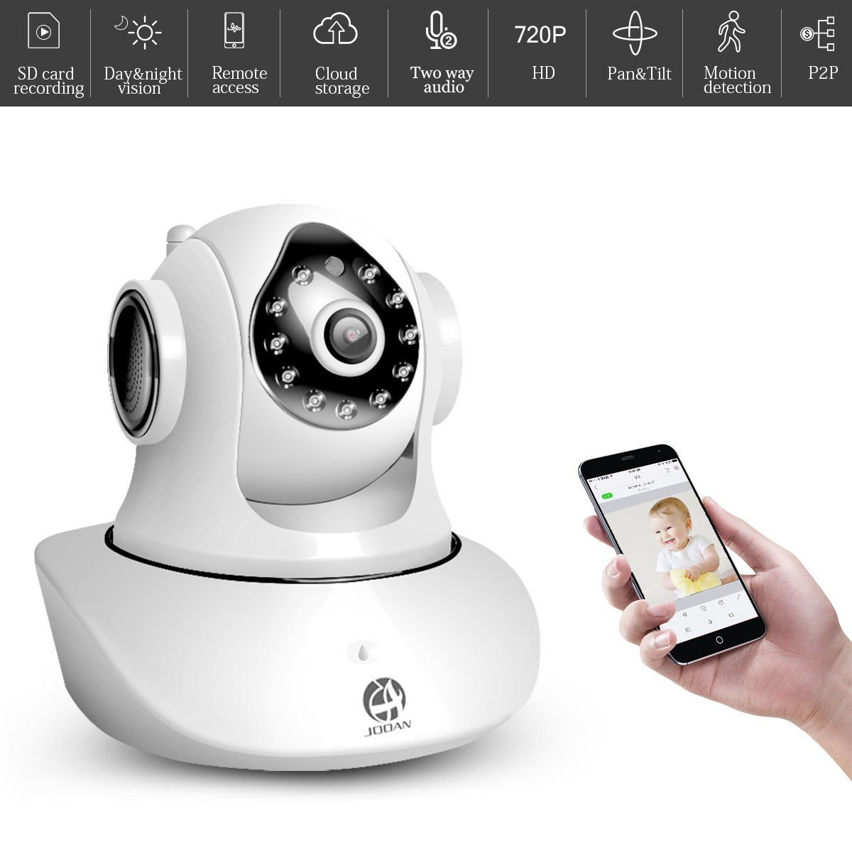 Baby Monitor, JOOAN WiFi Wireless Camera HD 720P Network Camera Home ...