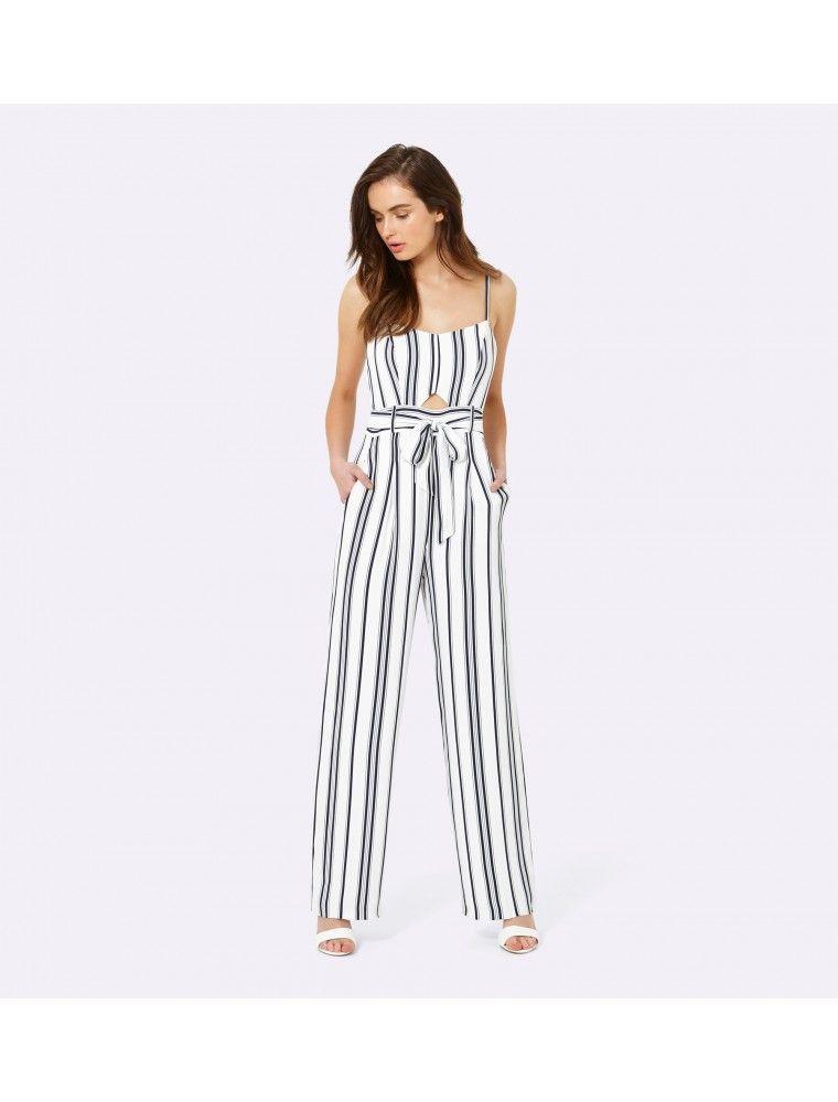 fa7829def451 Jackie key hole wide leg jumpsuit Stripe - Womens Fashion