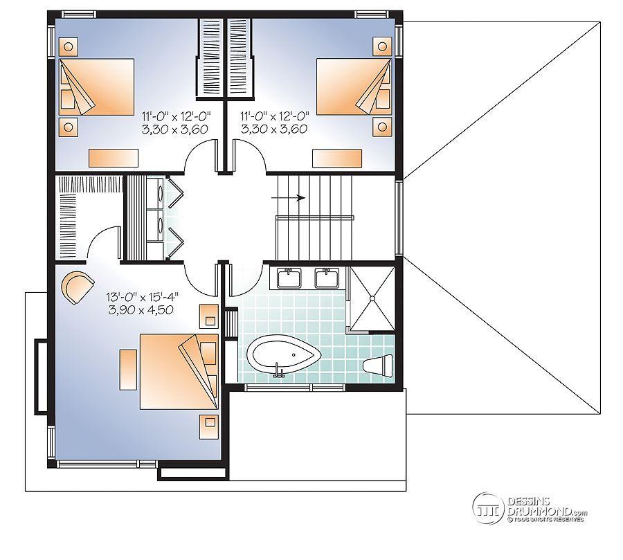 Détail du plan de Maison unifamiliale W3713-V1 House plans - plan de maison design