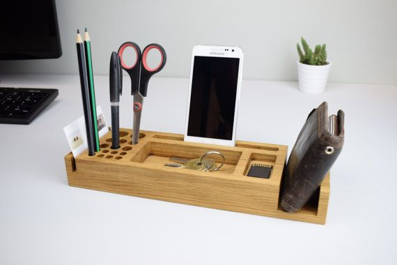 Wooden Desk Organiser Personalised Gift For Him Desk Tidy Phone