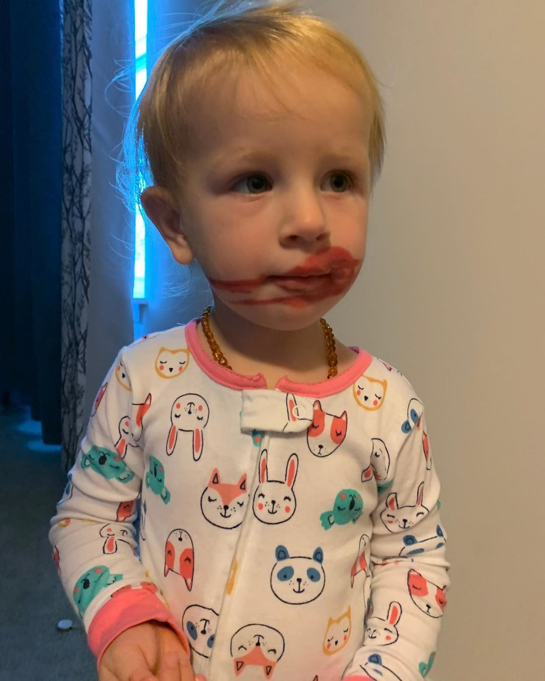 Oh child you make me laugh. 👄  • • • • #toddler#toddlerlife #toddlersofinstagram #toddlermomlife #toddlermom #toddlerfun #toddlers #toddlerhood #ohdear#surprise#lipstick#shethinksshesfunny#mydaughter#carters #cartersbaby #baby#babygirl#toddlergirl#cantlivewithouther#ohbaby