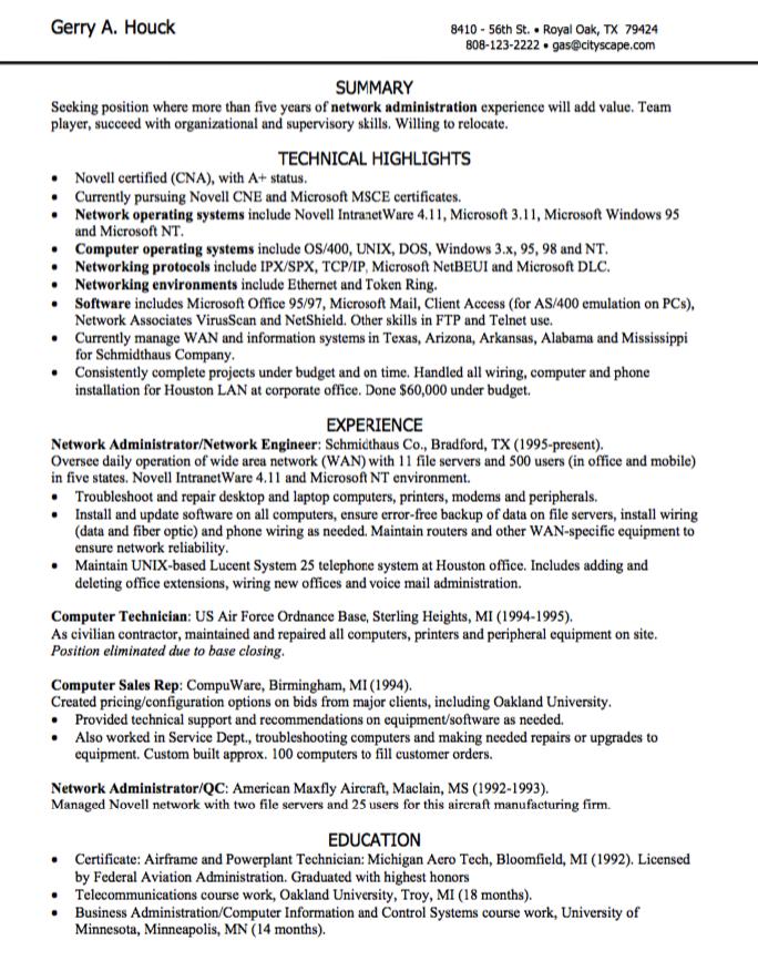 Network Administration Resume Sample  HttpExampleresumecvOrg