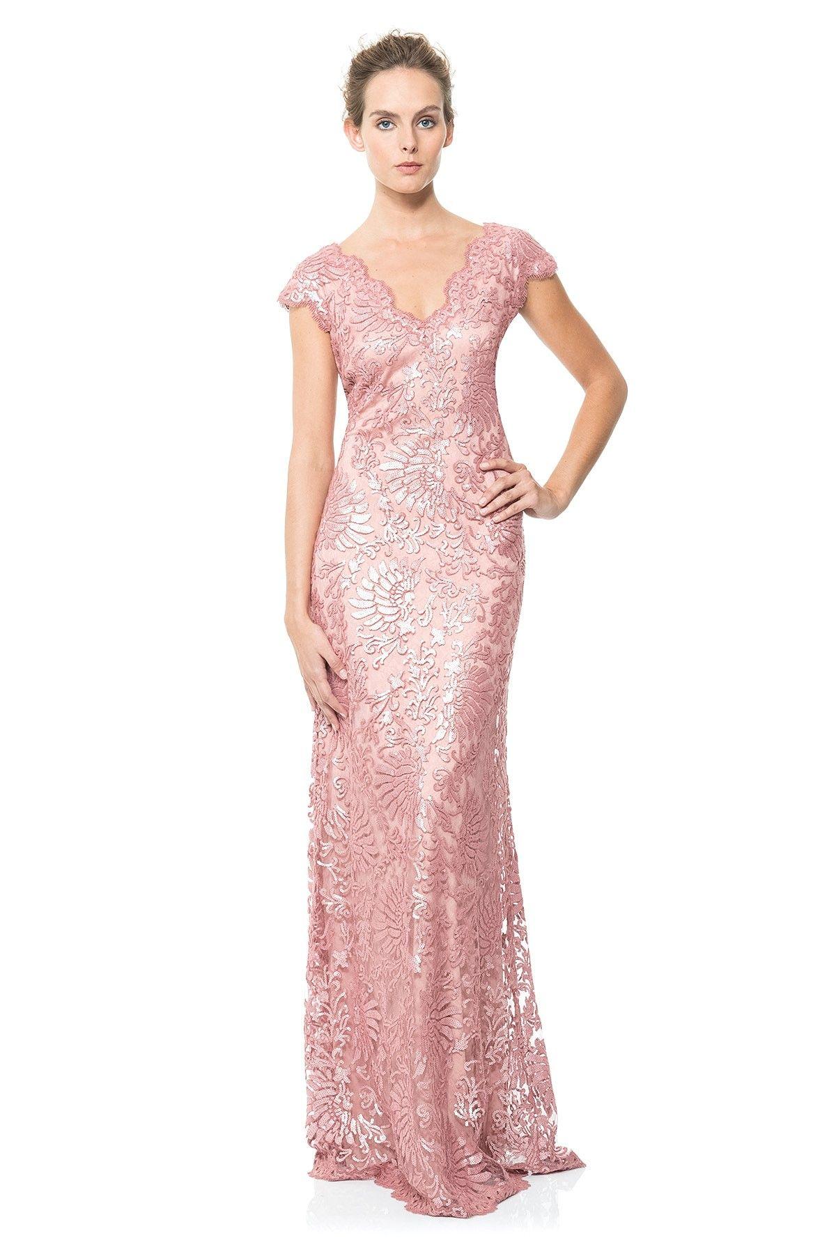 Paillette Embroidered Lace V-Neck Gown | Tadashi Shoji | Dresses ...