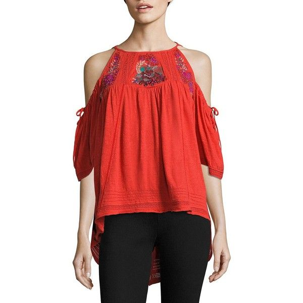 Free People Fast Times Cold-Shoulder Embroidered Top ($128) ❤ liked on  Polyvore