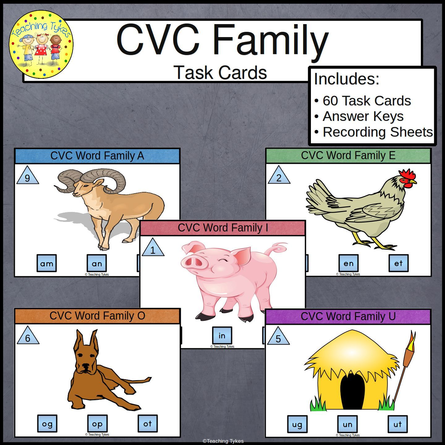 Cvc Word Family Task Cards From Teaching Tykes