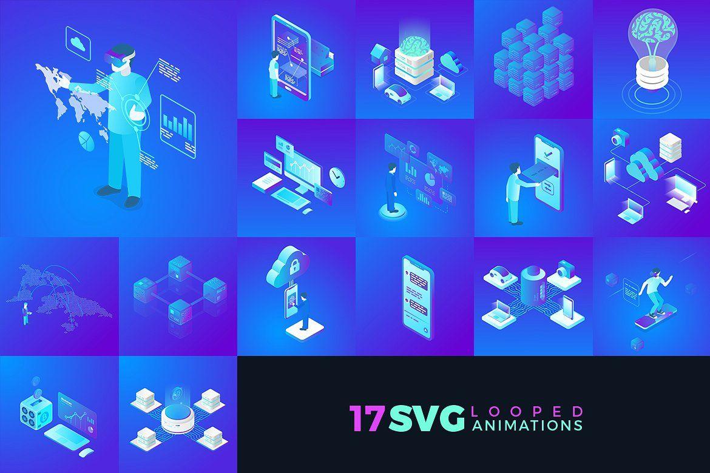 SVG Vector Animation Pack #illustrations#Based#json#static