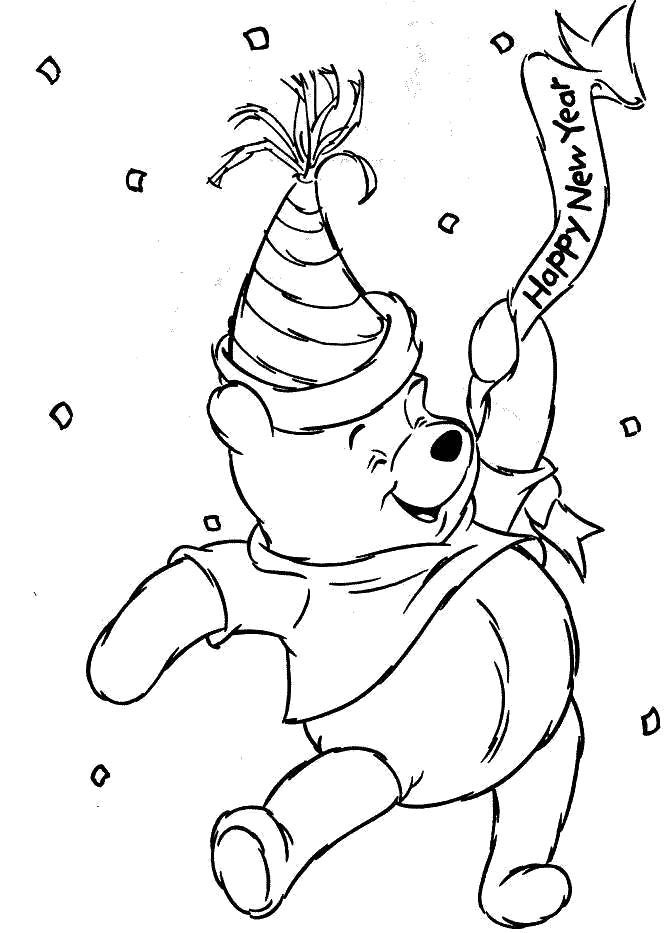New Year Eve Make Winni The Pooh Love Coloring Pages Bear Coloring Pages New Year Coloring Pages Disney Coloring Pages