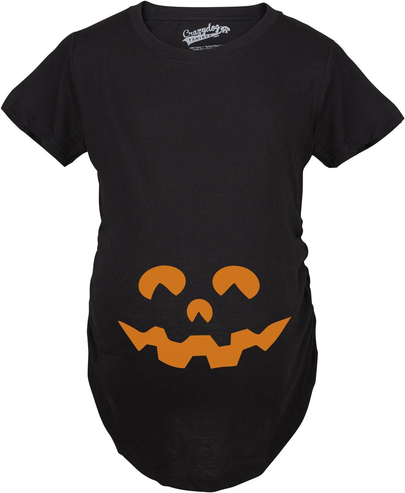 e7d212e1 Maternity Cartoon Eyes Pumpkin Face T Shirt Halloween Fall October  Pregnancy Tee