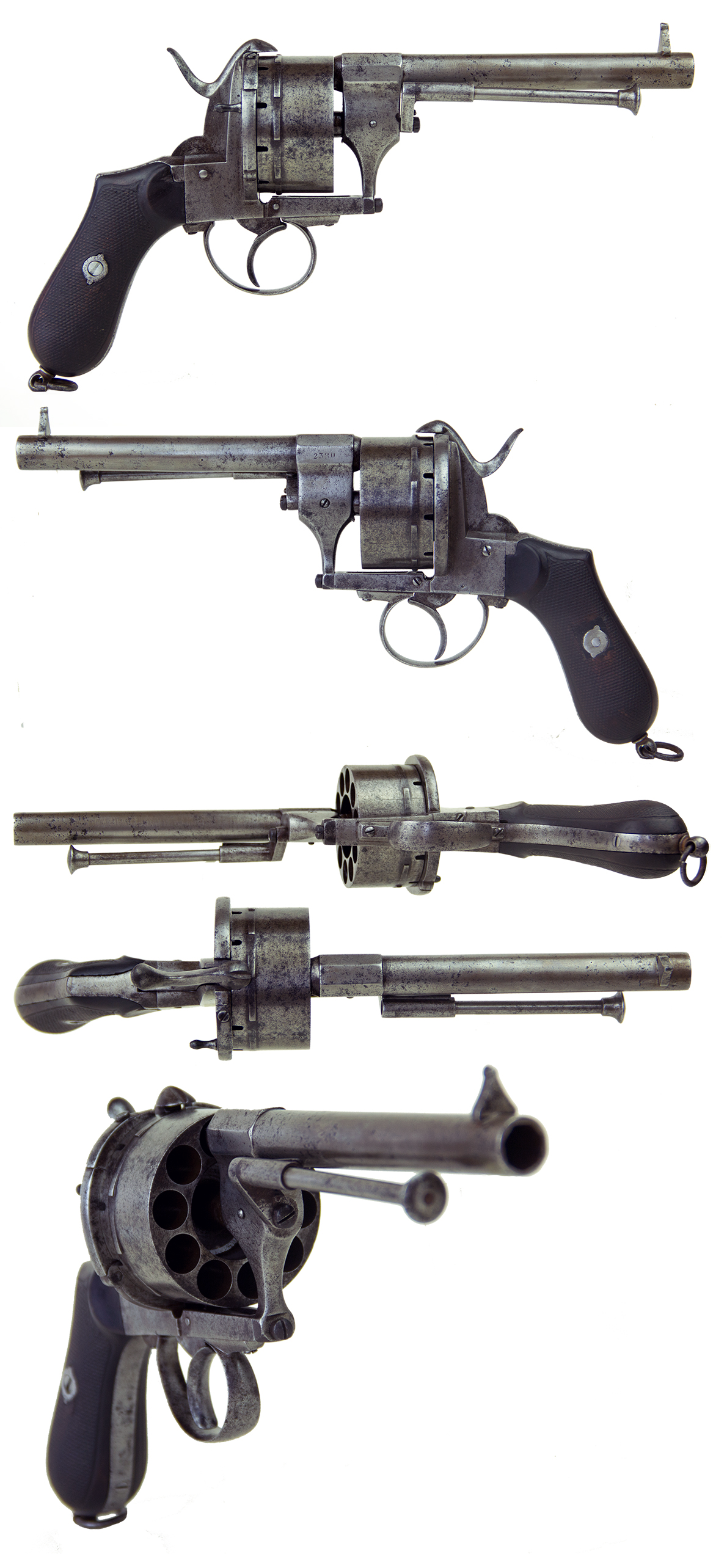 RARE LARGE FRAME 11MM TEN SHOT LEFAUCHAUX SYSTEM REVOLVER.