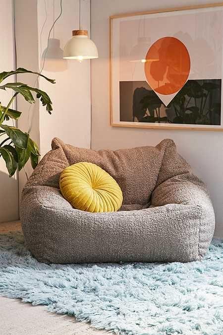 Cooper Faux Sheepskin Lounge Chair Comfy Chairs Bean Bag Chair Retro Dining Chairs