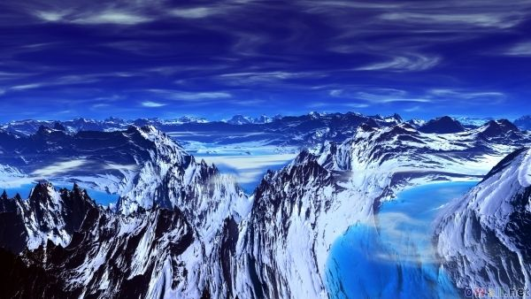 On top of the mountain everything is blue