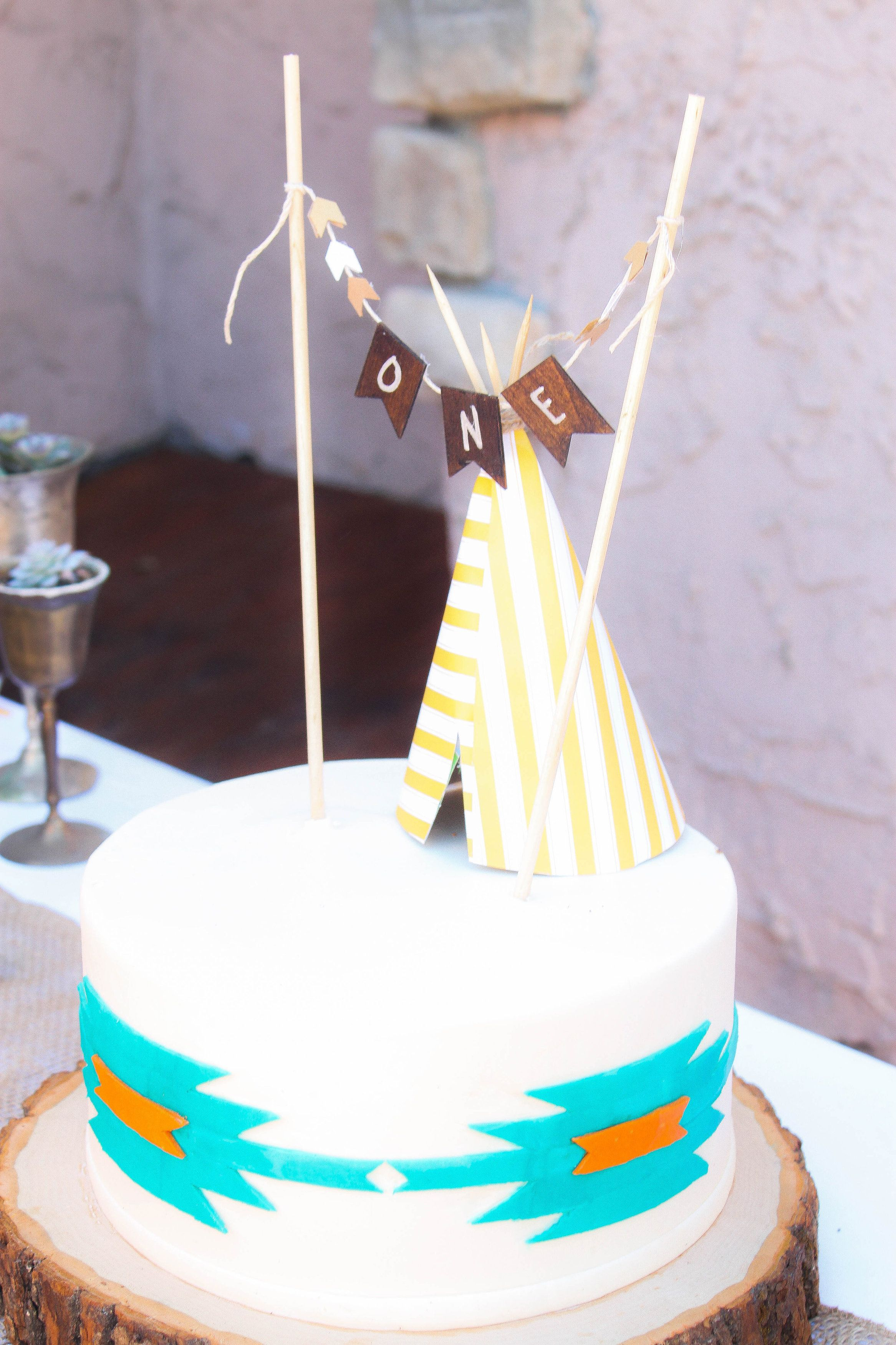 Navajo Theme Birthday Party Cake Teepee Topper ONE Bunting First Arrows Wood Stand Succulents