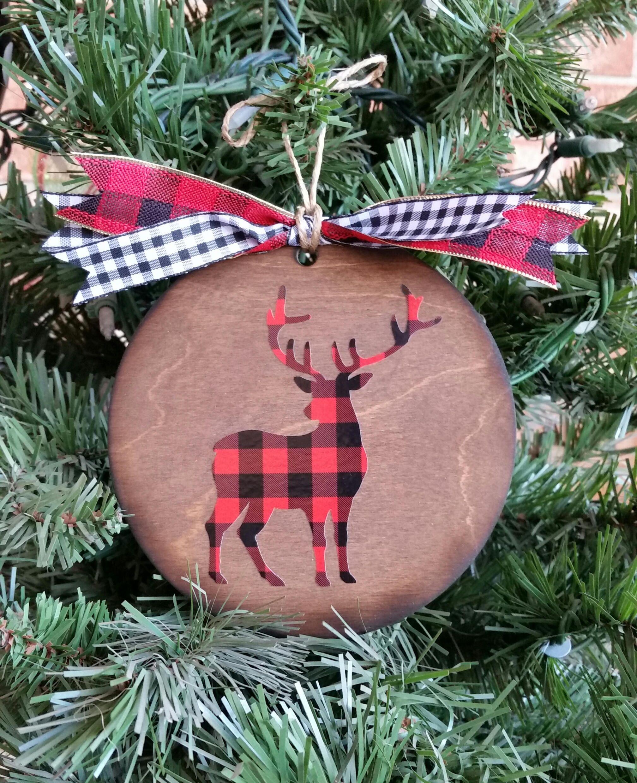 Buffalo Plaid Christmas Ornament Plaid Deer Wooden Ornament Etsy Christmas Ornaments Diy Christmas Ornaments Xmas Ornaments