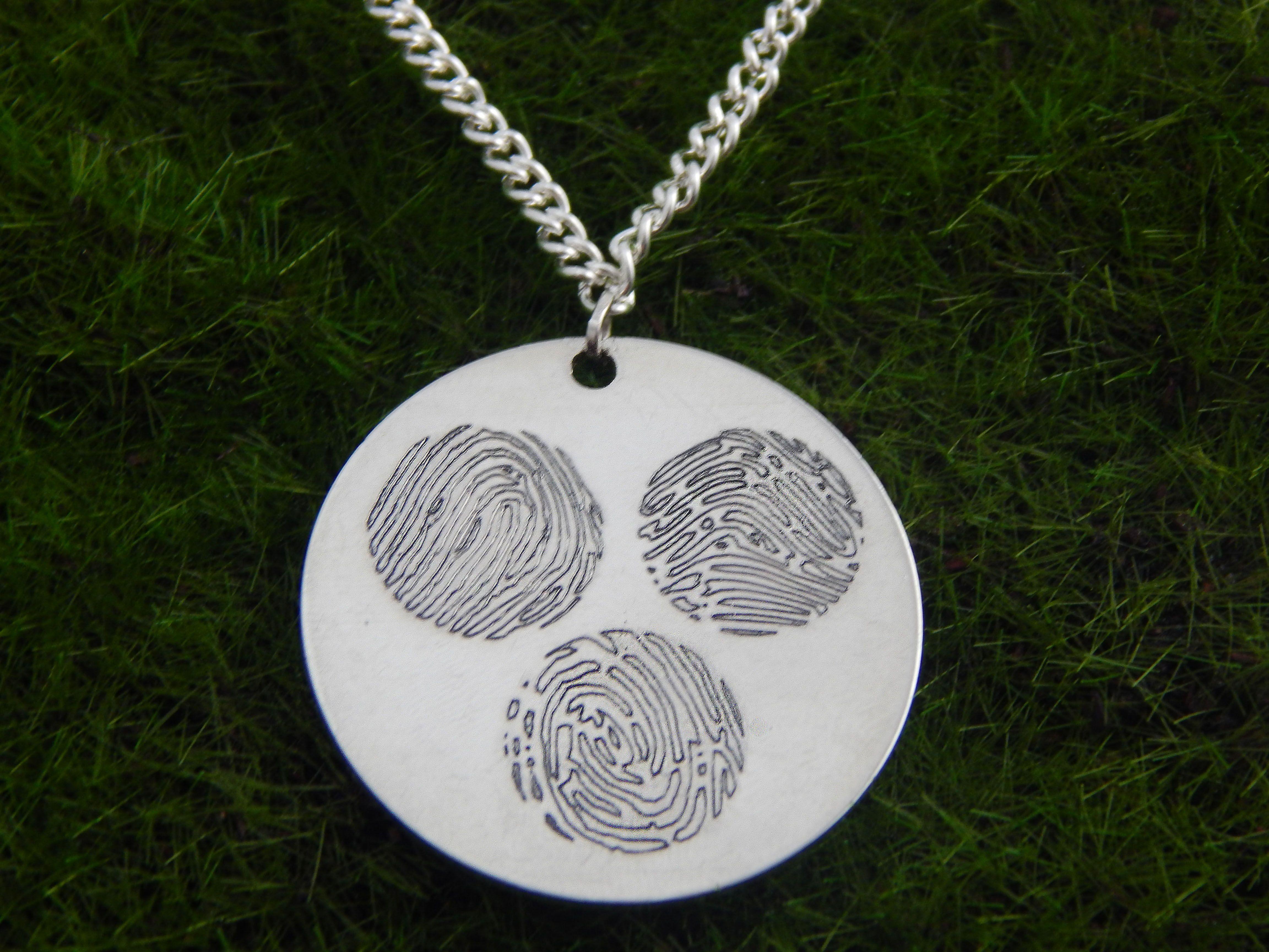 Playful Circles Dance Around this Custom Three Fingerprints Pendant Necklace