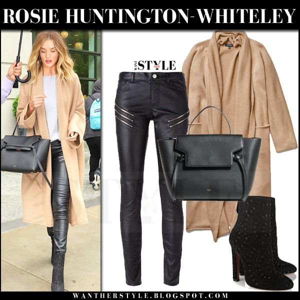 653dcf39735a Rosie Huntington-Whiteley in camel cardigan, black leather pants and black  ankle boots