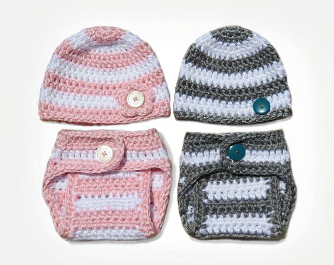 Crochet Diaper Cover Pattern and Crochet Hat Pattern - Newborn Photo ...