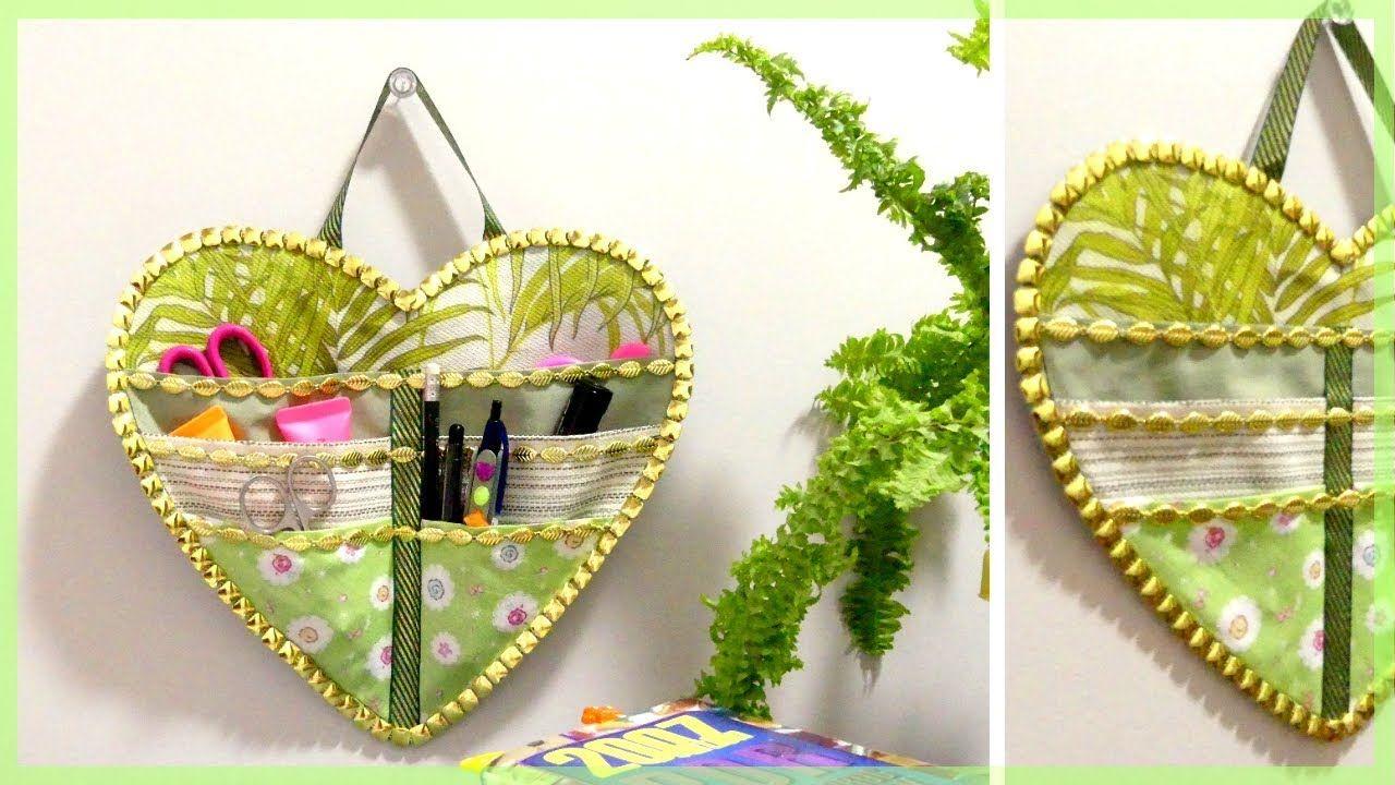 DIY Fabric Wall Hanging Organizer * Valentine\'s Day Gift/Craft/Room ...
