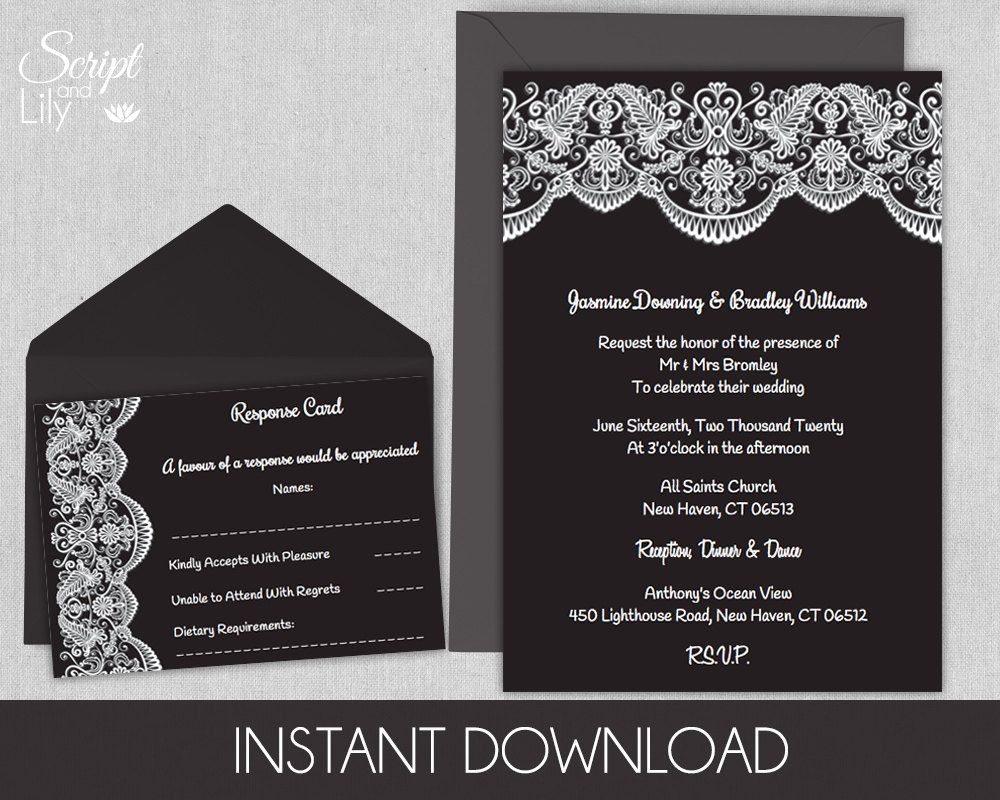 Edit Wedding Invitation Card: Black And White Lace Printable Wedding Invitation Template