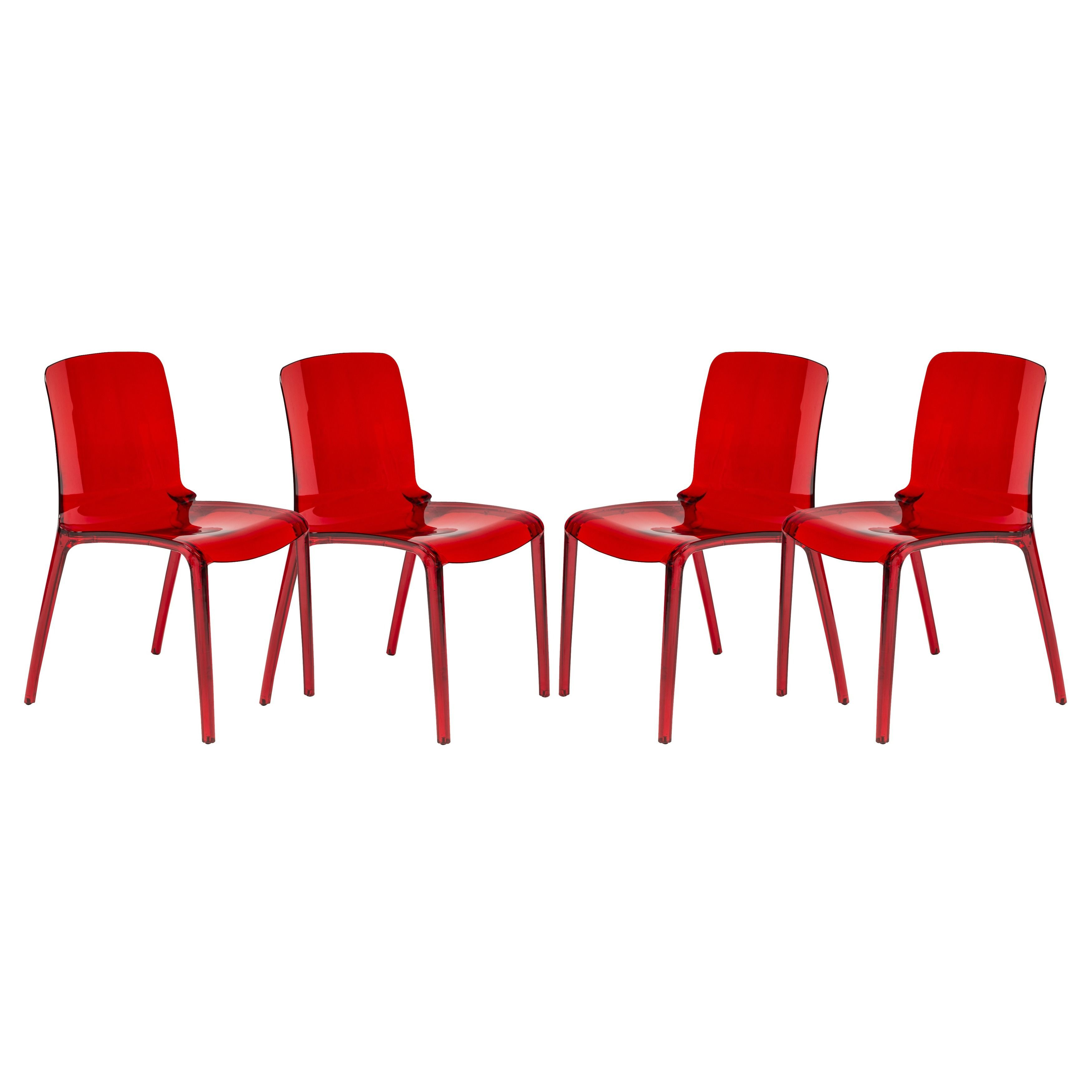 LeisureMod Laos Transparent Red Dining Chairs Set of 4 Laos