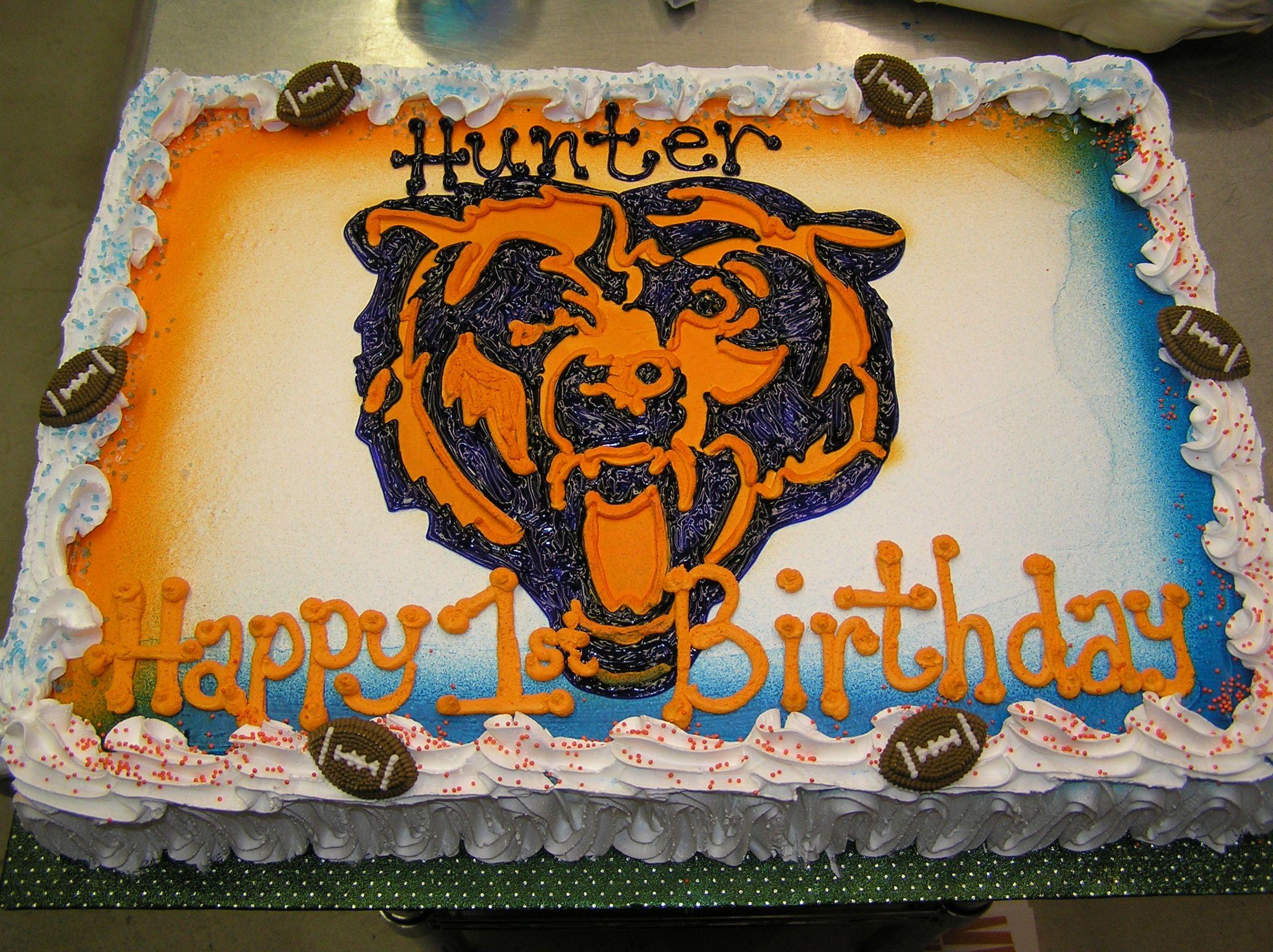 Marvelous Chicago Bears First Birthday Cake First Birthday Cakes Bithday Funny Birthday Cards Online Kookostrdamsfinfo