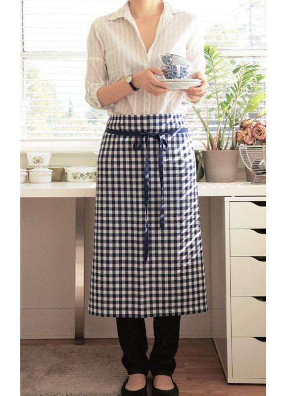 linen apron - navy check. $55.00, via Etsy.