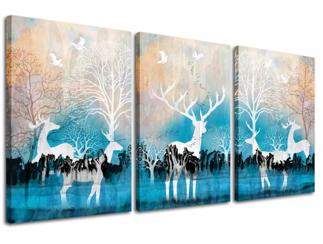 Deer Canvas Wall Art Forest Elk Picture Art Prints Blue Background 3 Piece Animal Painting For Modern Home Kid Animal Paintings Canvas Wall Art Forest Wall Art
