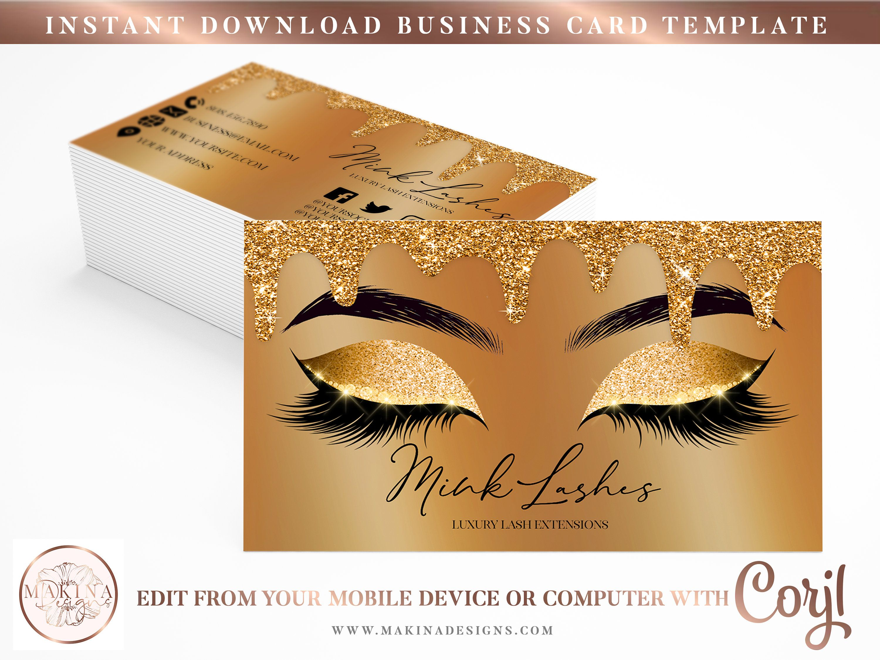 Business Card Template Business Card Card Design Logo Premade Logo Logo Template Lash Technician Beauty Card Design Card Template Business Card Template
