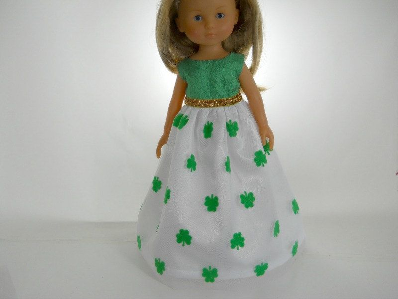 13 inch doll clothes made to fit dolls such as Corolle Les Cheries doll clothes St. Patrick's Day Dress, 02-0910 by thesewingshed on Etsy