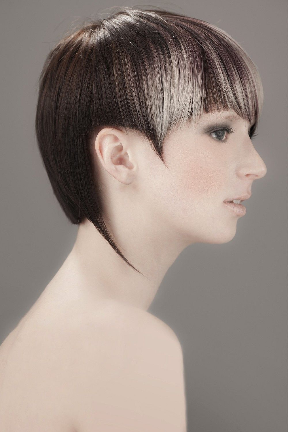 Short brown straight hairstyles provided by salon visage create