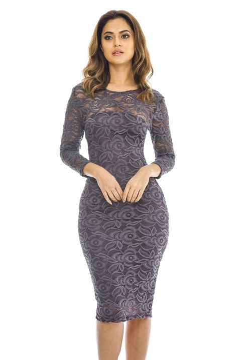 Pewter 3 4 Bodycon Lace Dress With Sleeves Lace Bodycon Midi Dress Lace Dress With Sleeves Dresses