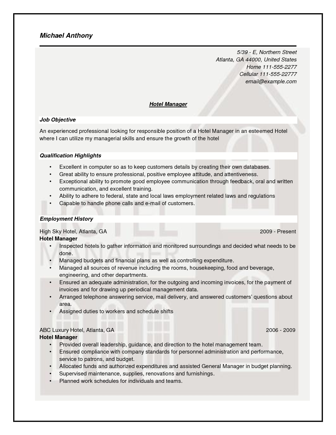 Doc Housekeeping Supervisor Resume Template Sample Samples  Home