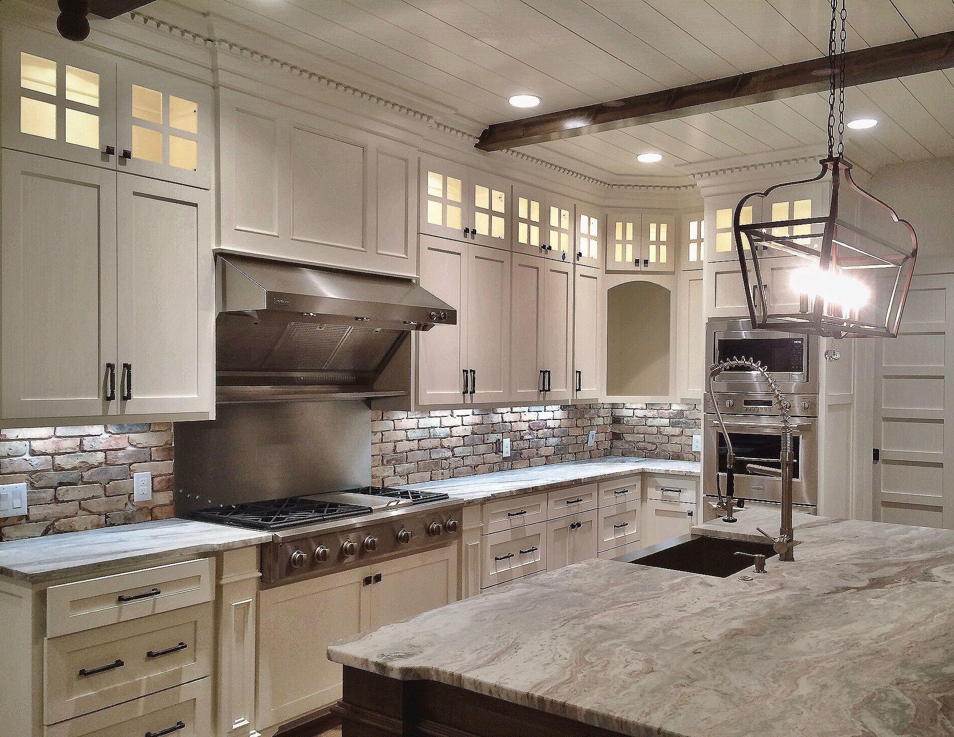 Farmhouse kitchen, White kitchen, shiplap ceiling