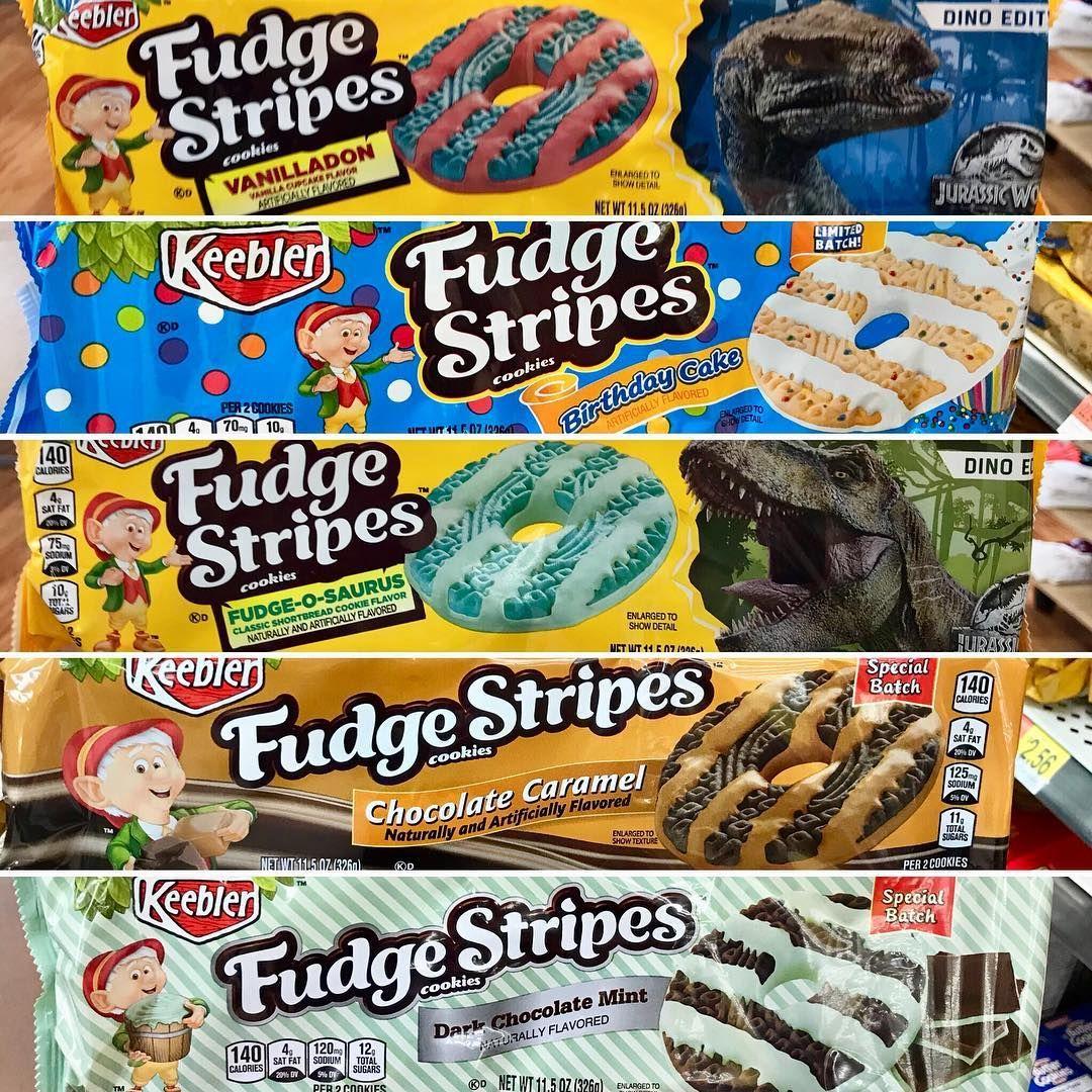 So Many Fun Limited Batch Flavor Fudge Strips From Keebler Cookies Mintchocolate Darkchocolate Caramel Birthdaycake Jurassicpark Jurassicworld