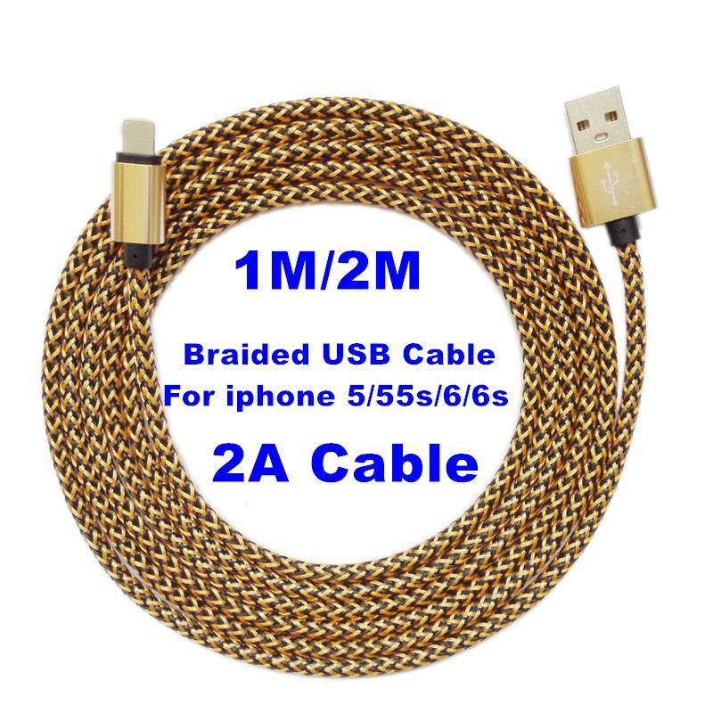 Brankbass 6 ألوان 2a جولة مزين Fabic المنسوجة Usb مزامنة البيانات سلك شاحن كابل الحبل لسامسونج Xiaomi هواوي Meizu Lg Zt Iphone Lightning Cable Usb Iphone Cable